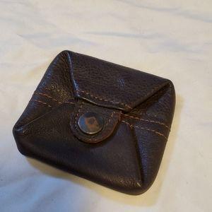 Vintage Brown Dark Leather Men's Coin Pouch